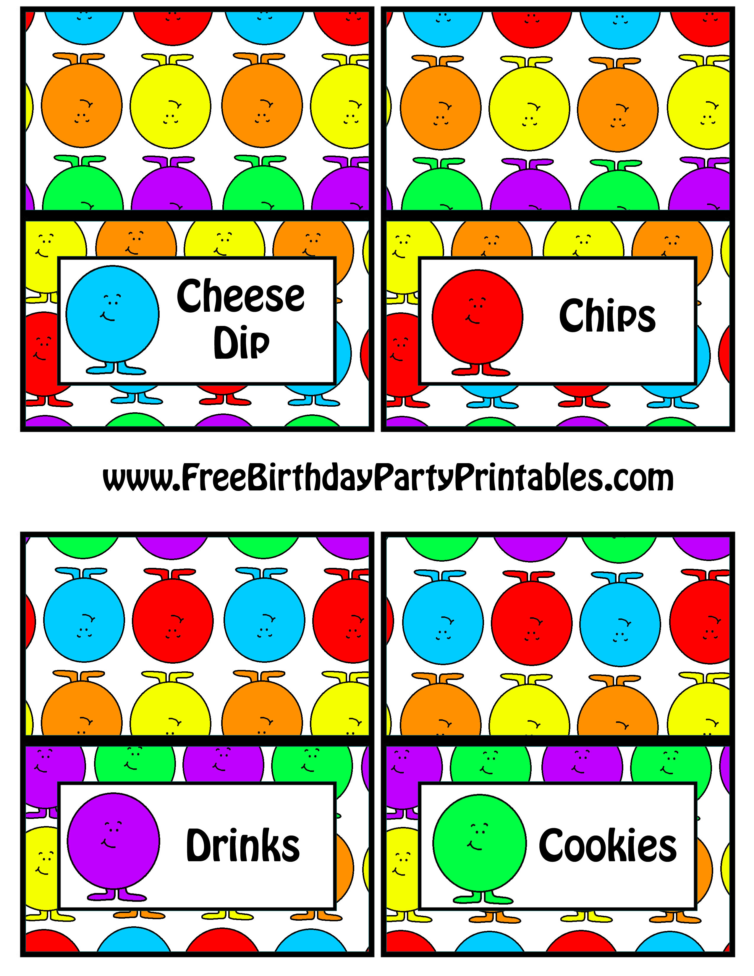 Gumball Birthday Party Food Card Tent Label Printable- Cheese Dip Chips Drinks Cookies  sc 1 st  Free Birthday Party Printables & Free Gumball Birthday Party Printables- Free Birthday Party Printables